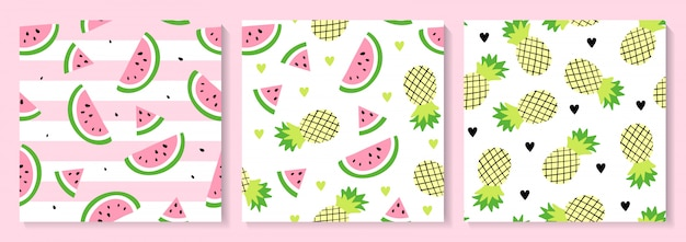 A set of watermelon and pineapple seamless pattern