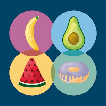 Set of watermelon with avocado and icons