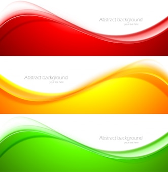 Set of wave banners