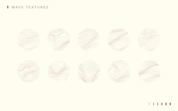 Set of wave textured wallpaper set vectors