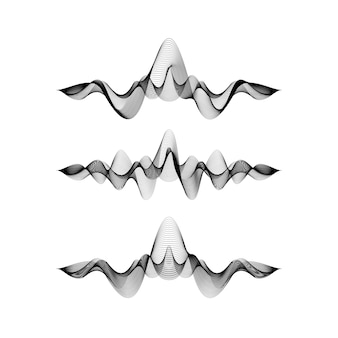 Set of waveforms isolated on white