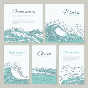 Set waves sea ocean card wedding, summer holiday and trip. flyer or poster big and small azure bursts splash with foam and bubbles. outline sketch illustration