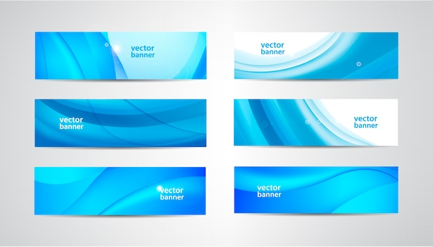 Set of wavy banners, blue wave web headers. water vibrant abstract background, horizontal orientation.