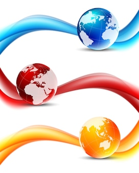 Set of wavy banners with globes in blue red orange color