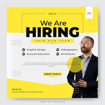Set of we are hiring job position social media template