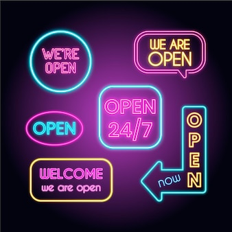 Set of we are open neon light signs