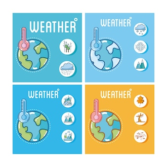 Set of weather cards collection