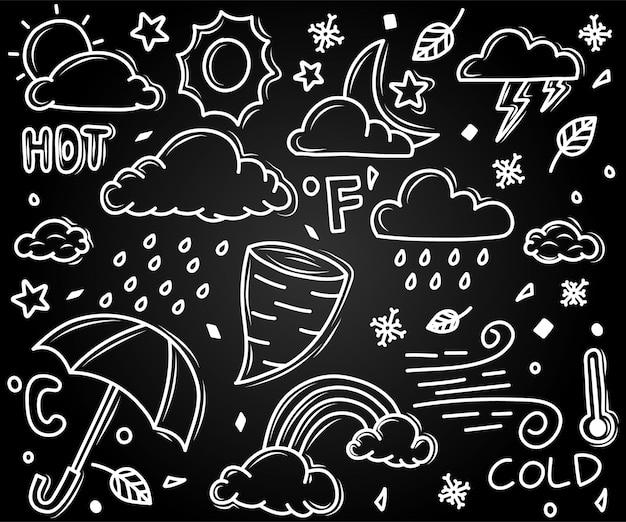 Set of weather doodle illustration