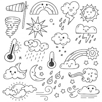 Set of weather doodles illustration