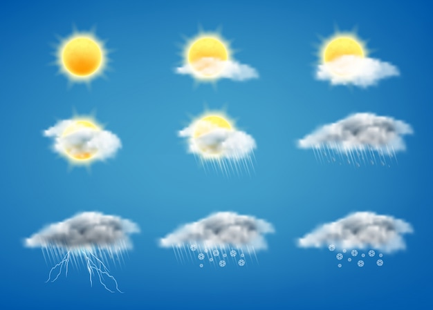 Set of weather forecast icons for web interfaces or mobile apps