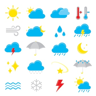 Set of weather icon element vector