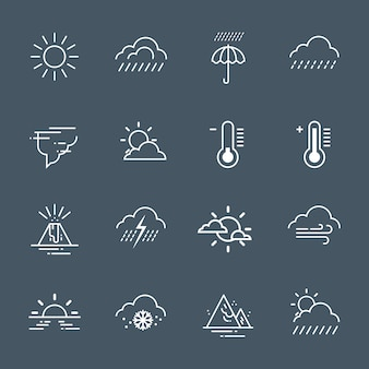 Set of weather icons on grey background climate forecast collection