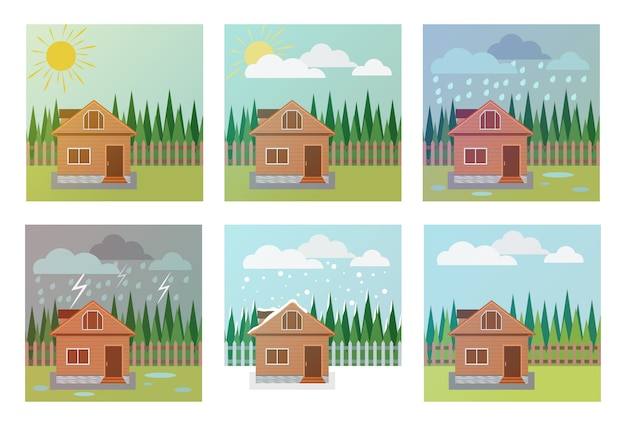 Set of weather icons, illustration of the house, wood and weather phenomena