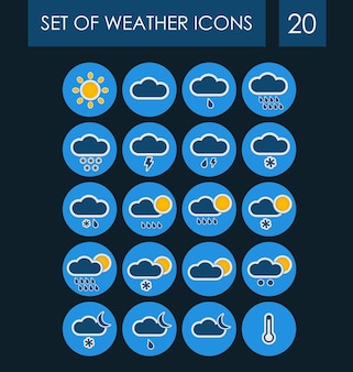 Set of weather icons for the interface.
