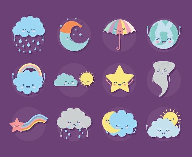 Set of weather icons on a purple illustration design