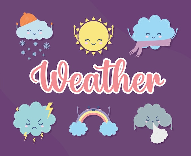Set of weather icons with weather lettering illustration design