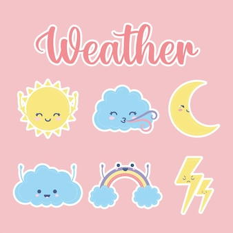 Set of weather icons with weather lettering on a pink illustration design
