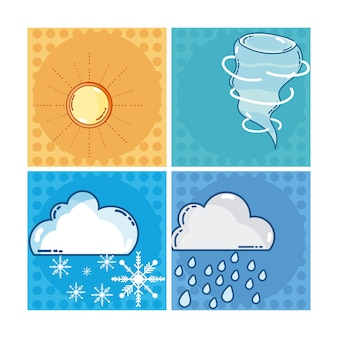 Set of weather squares frames collection