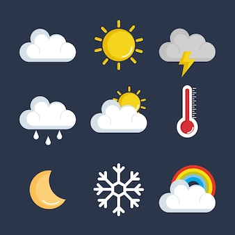 Set of weather status icons vector illustration design