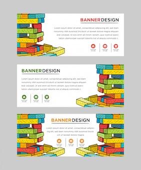 Set of web banner templates with brick construction, interlocking toy bricks, building blocks, parts or pieces