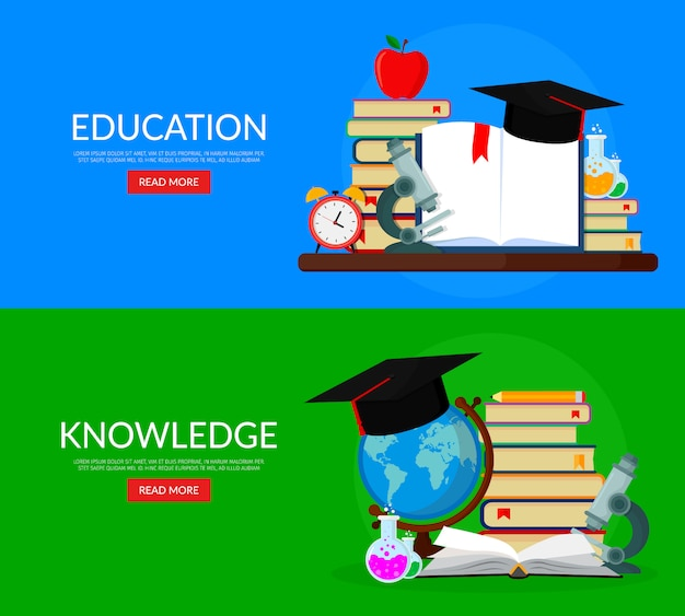 Set of web banners for education. books, globe, microscope, test tubes, academic cap.