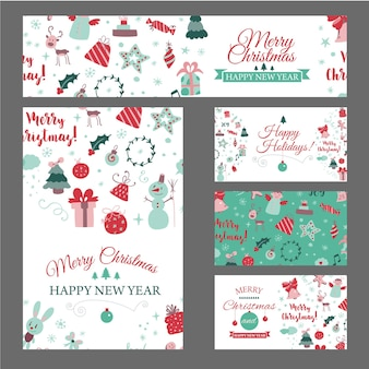 Set of web banners with christmas design elements in doodle style christmas cards vector