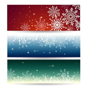 Set of web banners with snowflakes.  illustration