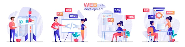 Установить веб-разработку плоский дизайн концепции иллюстрации персонажей людей