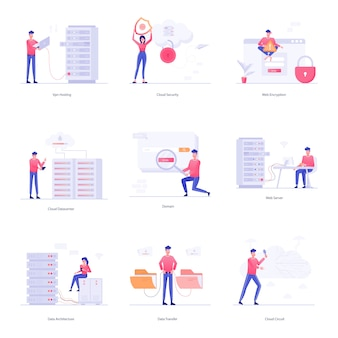 Set of web hosting character illustrations