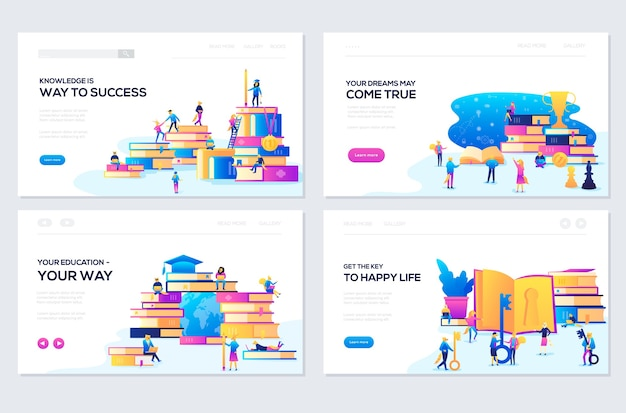 Set of web page design templates. banners website and mobile website development