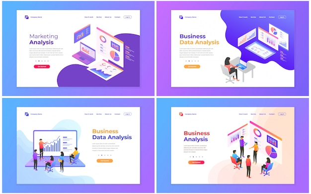 Set of web page design templates for data analysis, digital marketing, teamwork, business strategy and analysis.
