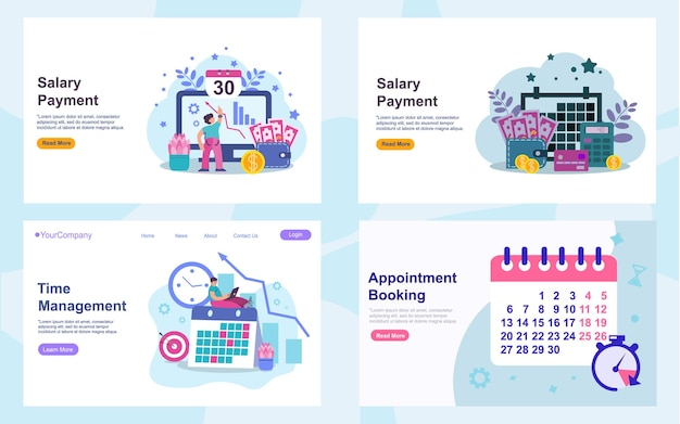Set of web page design templates. modern vector illustration concepts for website and mobile website development, seo, mobile apps, business solutions. easy to edit and customize. eps