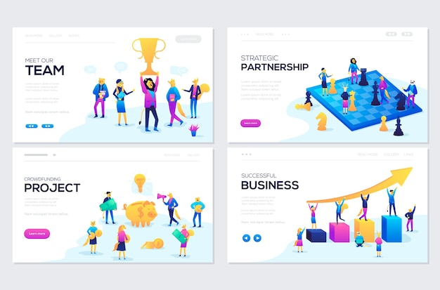Set of web page design templates for our team, meeting and brainstorming, business success