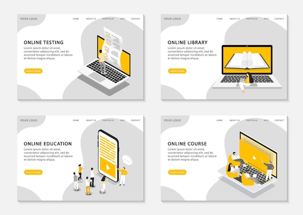 Set of web page templates for online education, online courses, online testing and online library.