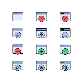 Set of web related vector colored icons. web window, upload, download, web setting, web security
