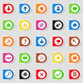 Set of web tabs with icons,  illustration