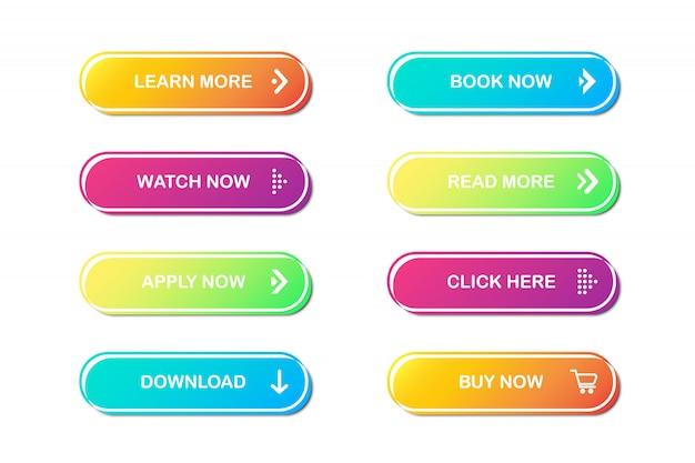 Set of website buttons.