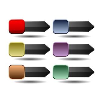 Set of website buttons
