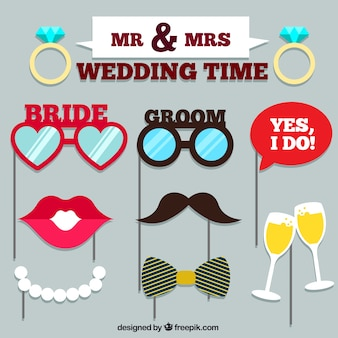 Set of wedding accessories for photo booth
