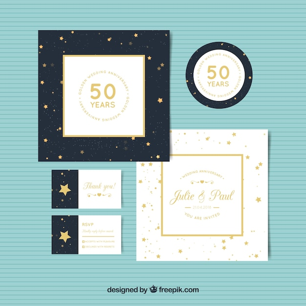 Set of wedding anniversary cards in golden style