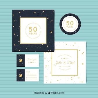 Set di carte di anniversario di matrimonio in stile dorato