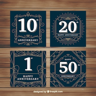 Set of wedding anniversary cards with numbers