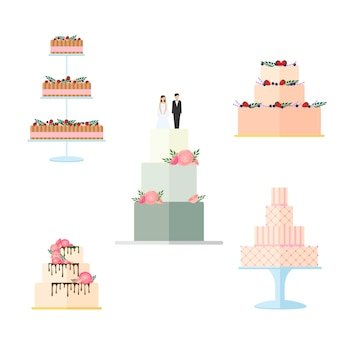 Set of wedding cakes with floral decoration isolated on a white background. wedding pie with bows and toppers bride and groom illustration