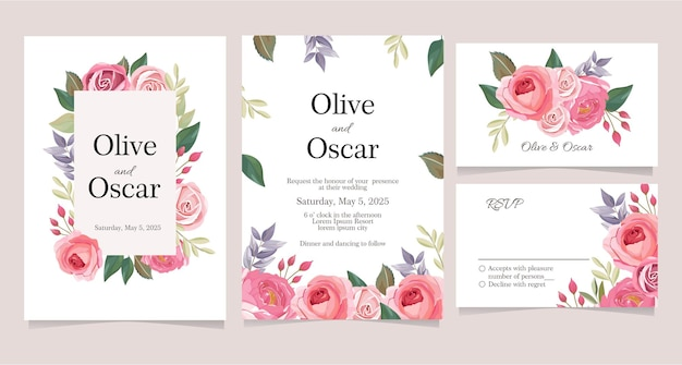 Set of wedding card collection with pink and lilac floral theme