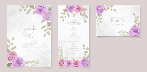 Set of wedding card design with purple roses