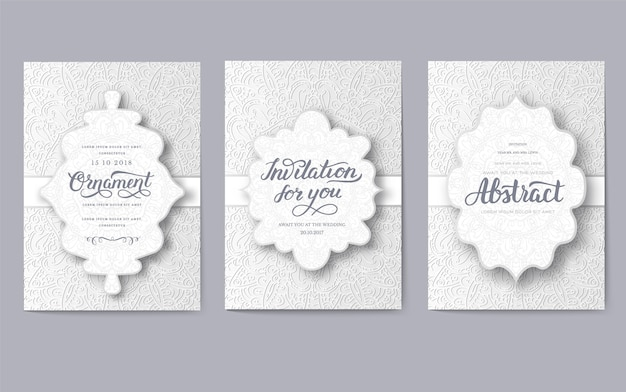 Set of wedding card flyer pages ornament. vintage art traditional, islam, ottoman motifs, elements.