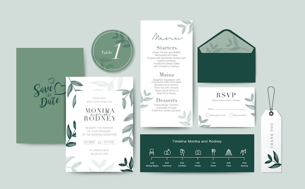 Set of wedding card template background
