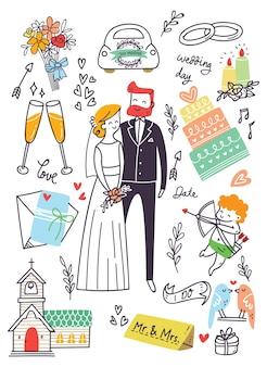 Set of wedding doodle