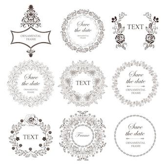 Set of wedding floral frames.