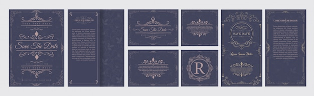 Set wedding flourishes ornaments